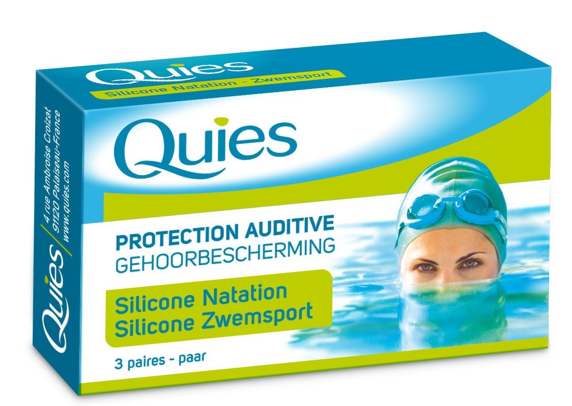 Bouchons natation 3 paires quies adulte for Bouchons oreilles piscine